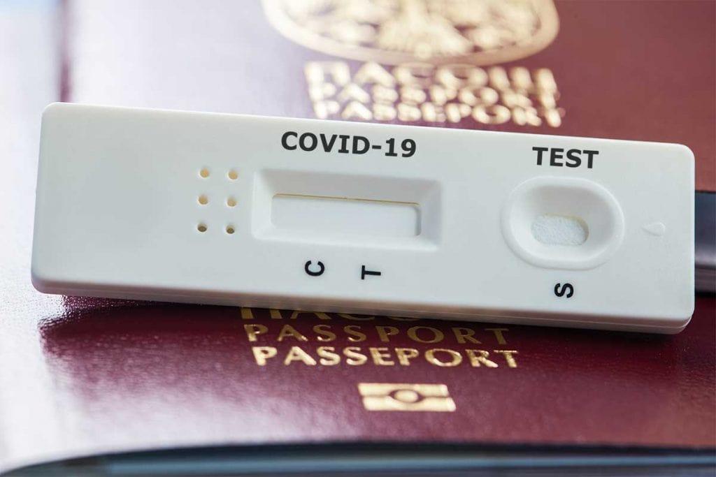 COVID Test on a passport